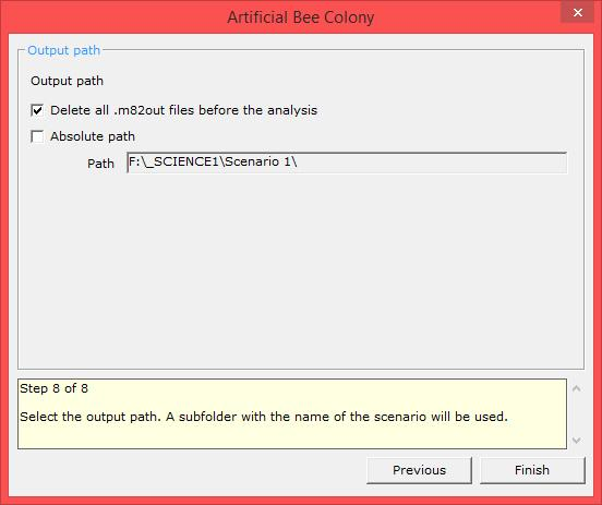 artificial bee colony xloptimizer options step 8