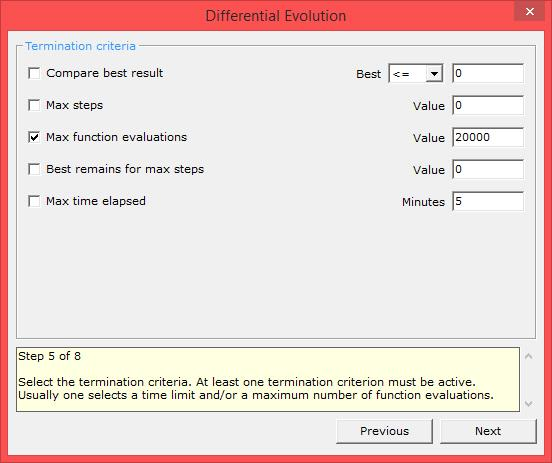 differential evolution xloptimizer options step 5