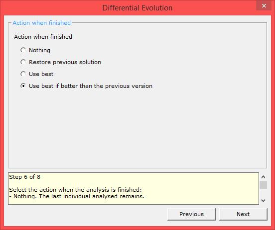 differential evolution xloptimizer options step 6