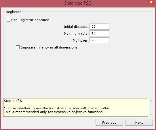 enhanced particle swarm optimization xloptimizer options step 4