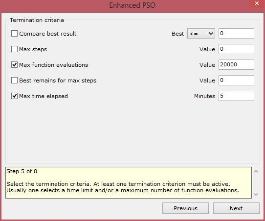enhanced particle swarm optimization xloptimizer options step 5