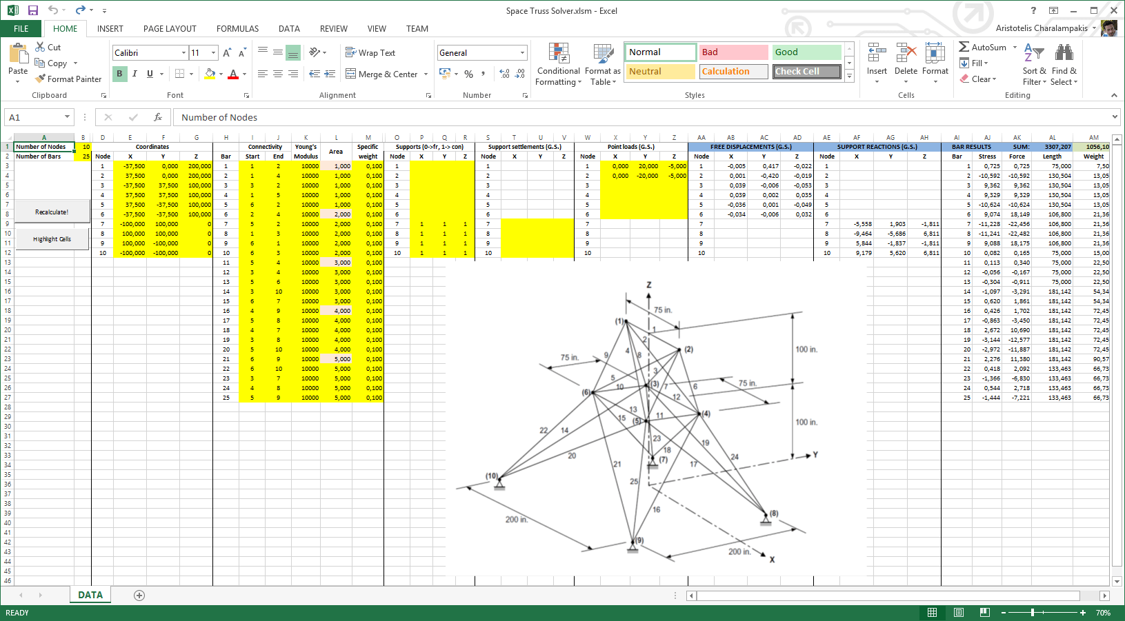 Space truss solver with Microsoft Excel and VBA